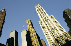 View to skyscraper and twin towers in New York. NEW YORK, USA - NOV 27, 1998: view to skyscraper and twin towers in New York, USA royalty free stock photos