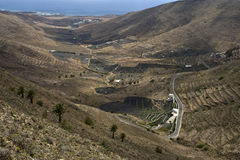 View to small village in valley. In Lanzarote Stock Images