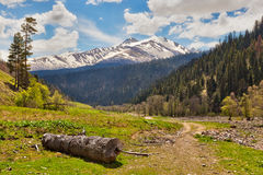 View to snow on Caucasus mountains near Arkhyz Stock Photo