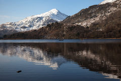 View to Snowdon. Winter white Snowy scenes around Snowdonia National Park North Wales UK Stock Photography