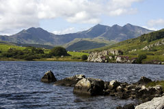 View to Snowdon and the Horseshoe. From the Ogwen valley in the heart of the Snowdonia National Park Royalty Free Stock Photos
