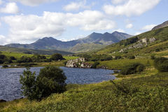 View to Snowdon and the Horseshoe. From the Ogwen valley in the heart of the Snowdonia National Park Royalty Free Stock Photography