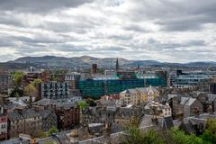 A view to the south of Edinburgh city from the castle wall royalty free stock photo