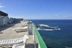 View to the South of Tenerife coast from rooftop. With horizon and a resort in background, picture from Puerto de la Crus royalty free stock photo