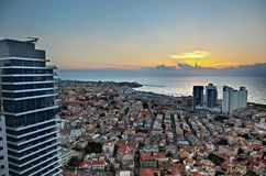 Tel-Aviv Sunset. A view to the south-west at sunset time in Tel-Aviv Stock Photo