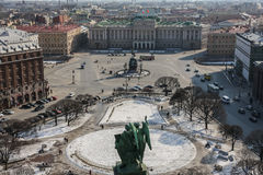 A view to the Square of Saint Isaac's Cathedral. A view from the roof of Saint Isaac's Cathedral to the Square of the same name in Saint Petersburg, Russia Stock Photography