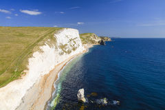 View to St Aldhelm's Head. Jurassic Coast and South West Coast Foot Path to Durdle Door with St Adhelm's Head in the distance Royalty Free Stock Photo