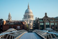 A view to St Paul`s Cathedral from Millenium Bridge across Thame Stock Image