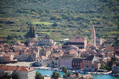 View to Starigrad, a town at Hvar island Stock Images