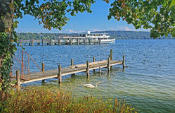 View to starnberger see, boardwalk and steamboat Stock Photos