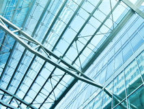 View to steel blue glass airport ceiling Stock Image
