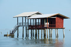 View to the stilt fishermen cabin in the gulf in Tha Thong, Surat Thani province, Thailand. Royalty Free Stock Images