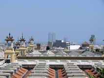 Roof view on a nice summer day, Barcelona, Catalonia, Spain. royalty free stock photos