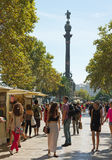 View to the street in Barcelona. Stock Photo