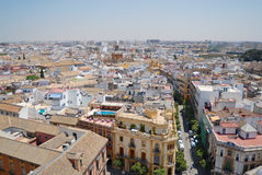 View to the street and buildings of Seville, Spain. Royalty Free Stock Images