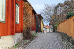 The view to the street of historical center in Vasteras city. In Sweden royalty free stock image