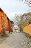 The view to the street of historical center in Vasteras city Stock Photo