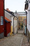 The view to the street of historical center in Vasteras city Royalty Free Stock Images