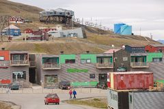 View to the street of Longyearbyen, Norway. Stock Image