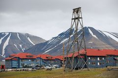 View to the street of Longyearbyen, Norway. Royalty Free Stock Photography