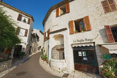 View to the street of the medieval town of St. Paul De Vence, France. Royalty Free Stock Image