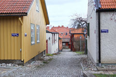 The view to the street in the old district of Vasteras city Stock Photos