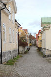 The view to the street in the old district of Vasteras city Royalty Free Stock Photos
