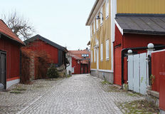 The view to the street in the old district of Vasteras city Royalty Free Stock Photography