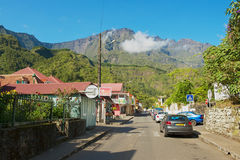 View to the street of the town of Fond de Rond Point in Saint-Denis De La Reunion, France. Royalty Free Stock Photos