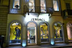 View to stylist Versace boutique in Montenapoleone street at New 2014 Year midnight. Stock Photo