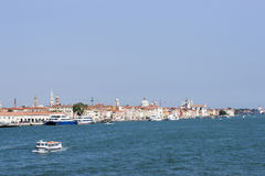 View to summer Venice from city harbor Stock Photography