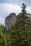 View to a summit cross in Bavarian Alps Stock Photo