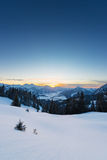 View to sunset in austrian alps Royalty Free Stock Image