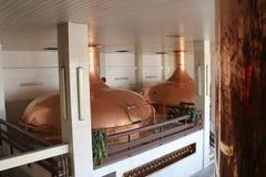 View to tanks in brewery Budvar in České Budějovice, South Bohemia. Czech republic stock image