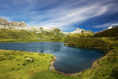 View to Tannesee and Swiss Alps panorama from Melchsee Frutt, Sw Stock Image