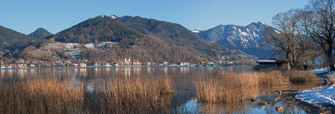 View to tegernsee village from the opposite lakeside, bavarian l Stock Image