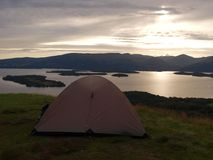 Camping above Loch Lomond Stock Image