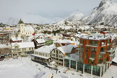 View To The Central Part Of The Town Of Svolvaer, Norway. Stock Photos