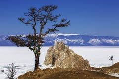 Free View To The Shamanka Rock And A Wishing Tree On Cape Burhan Of Olkhon Island On Lake Baikal. Irkutsk Region Stock Photo - 143288240