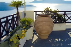Santorini, terrace over the sea Royalty Free Stock Photo