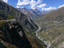 View to Thorong La from Upper Khangsar, Nepal Stock Photography