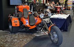 View to three wheeled two seat motorcycle chopper exposed in BrianzaMotorShow. Royalty Free Stock Images