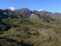 View to Tilicho peak from Muktinath, Nepal Stock Photo