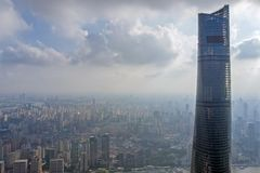 View to Top of Shanghai Tower and Shanghai Skyline stock image