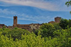 View to the top to the ancient town San Casciano dei Bagni in Tuscany stock images