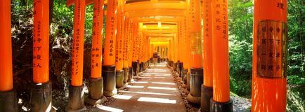 View to Torii gates in Fushimi Inari Shrine. Famous place in Kyoto, Japan Royalty Free Stock Images