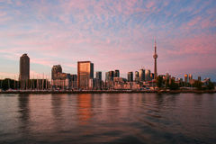 View to Toronto Skyline from Ontario Lake in the Evening Stock Image