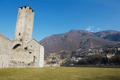 View to the tower of the Castelgrande castle in Bellinzona, Switzerland. Royalty Free Stock Images
