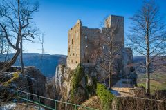 View to the tower of castle Reussenstein stock photo