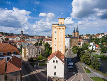 View to tower Kunstturm in Altenburg Thuringia. Aerial View to tower Kunstturm in Altenburg Thuringia Stock Photos